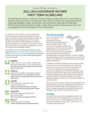 The 2014 Scorecard - Governor Snyder