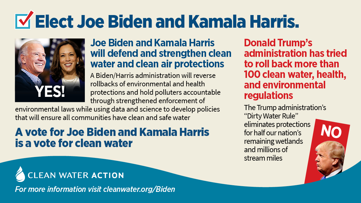 A vote for Biden/Harris is a vote for Clean Water