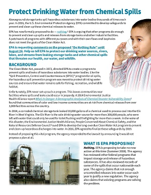 Protect water from hazardous chemical spills fact sheet