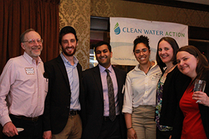 Celebrating at Spring for Water with (left to right) Sierra Club's Clint Richmond and Jacob Stern , Clean Energy Organizer Vick Mohanka, Environmental Health and Justice Organizer Kadineyse Paz, MA Director Elizabeth Saunders, and Mass Alliance's Becca Gl