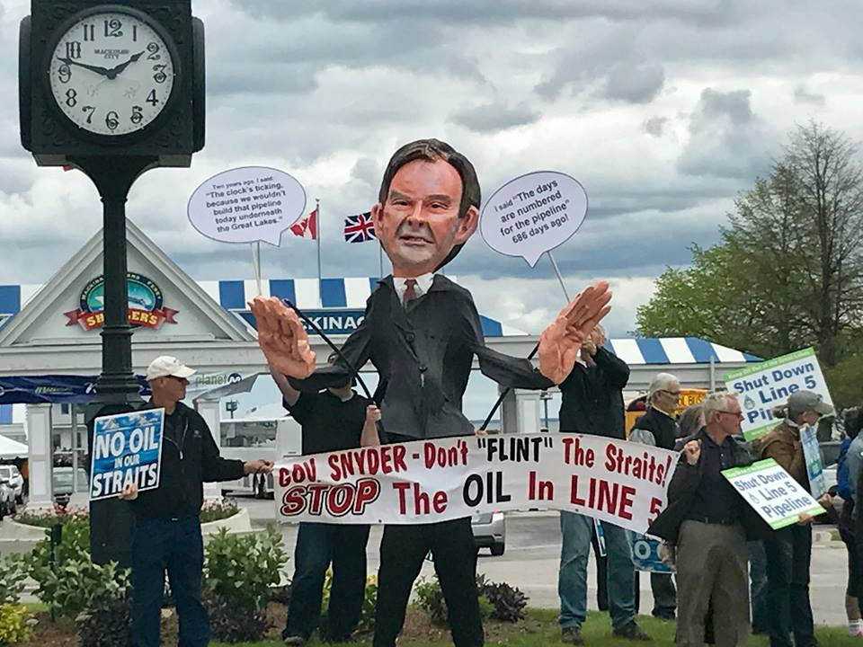Activists gather at Shepler's Ferry in Mackinac City to Protest Line 5