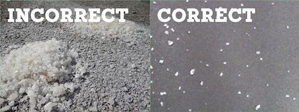 Correct and incorrect road salt usage.