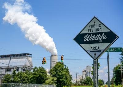 Toxic Power Plant near a fishing spot - Photo courtesy Pete Harrsion, Waterkeeper Alliance