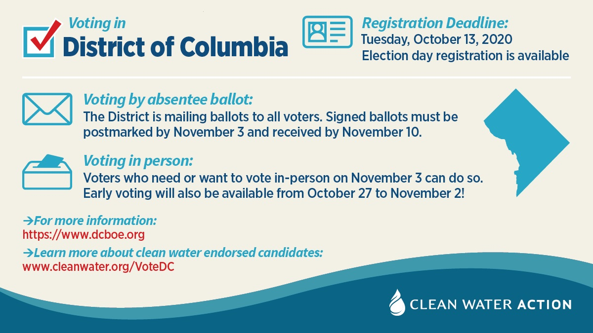 Voting in District of Columbia. Registration deadline Tuesday Oct 13, Election day registration available. DC is mailing ballots to all voters. Signed ballots must be postmarked by Nov 3. Voting in person and early voting available.