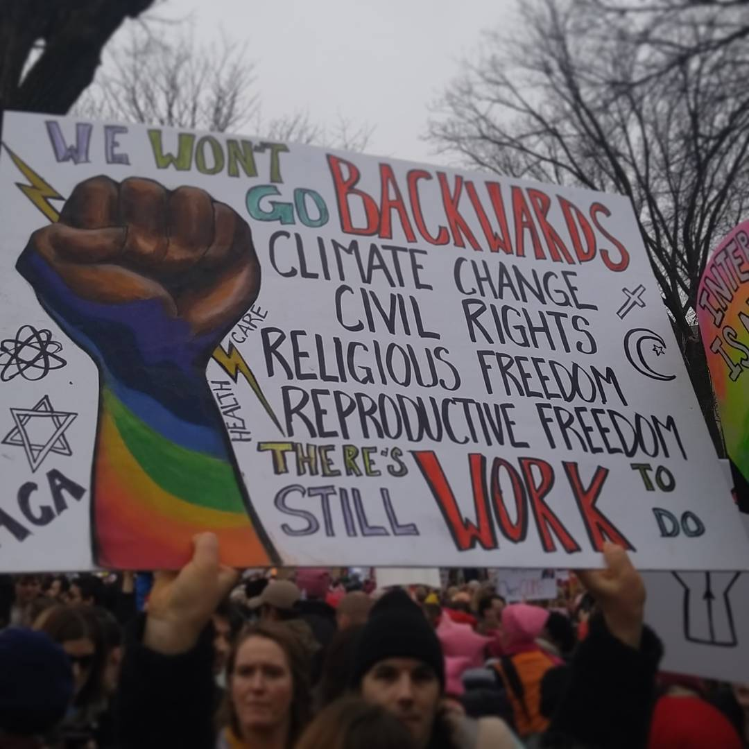 We won' go backward - protest photo (Women's March on DC Jan 2017). Credit Michael Kelly