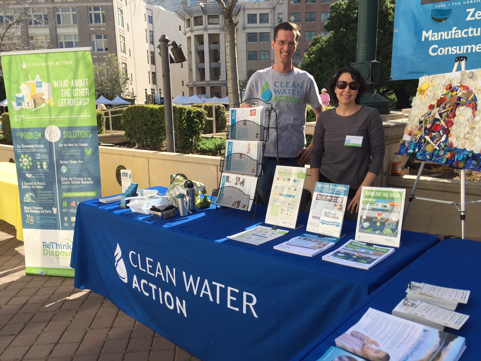 The author (left) and Waste Prevention Program Associate Dara Rossoff Powell (right), tabling on Wednesday, April 6 at the City of Oakland's Earth Expo event, downtown.