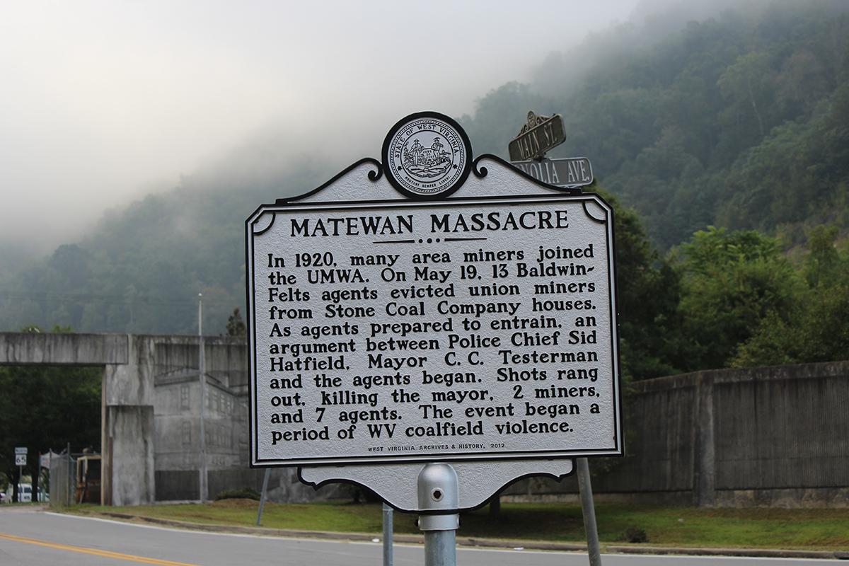 Matewan Massacre marker, Matewan, WV. photo: NDB