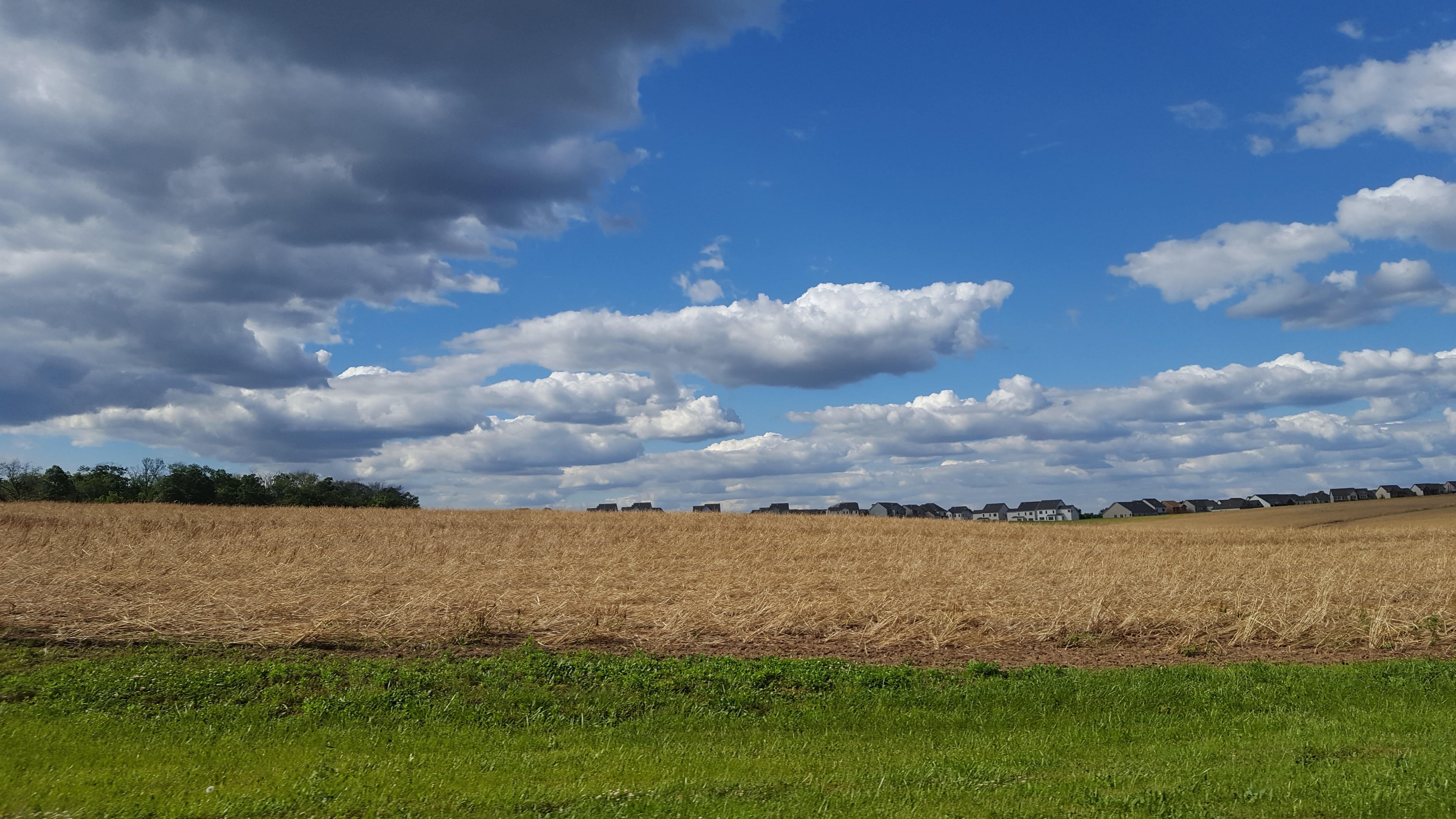 A new development peeks from behind farm fields