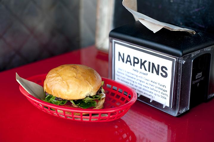Burger on a reusable tray