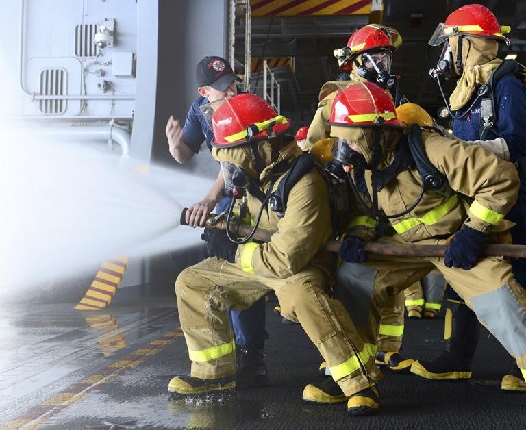 Firefighters using PFAS fire fighting foam