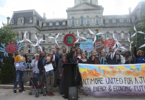 A rally for offshore wind in May 2017 in front of Baltimore's City Hall.