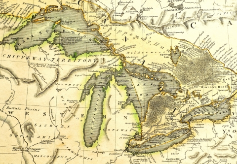 historic map of the Great Lakes