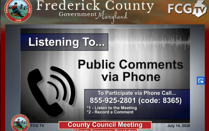 Screenshot of the livestream of the hearing on the Frederick County Climate Emergency Resolution