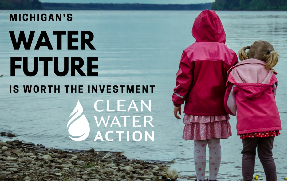 Two children by a lake, caption: Michigan's water future is worth the investment