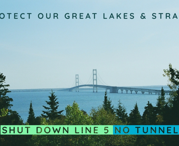 Picture of Mackinac Straits. Caption: Protect Our Great Lakes & Straits, Shut Down Line 5 No Tunnel