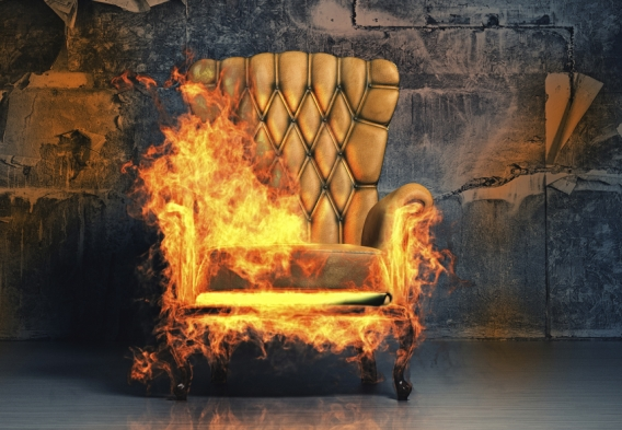 Arm chair on fire - toxic chemicals