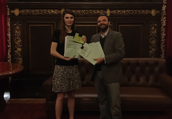 Anna LaCombe and Steve Schultz dropping off constituent letters in the capitol