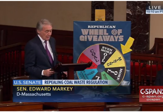Senator Markey (D-MA) and the Wheel of Giveaways. Screenshot from CSPAN