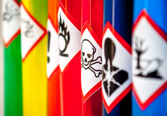 containers of toxic chemicals