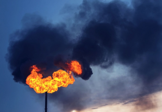 Gas flare - black smoke. Photo credit: Leonid Ikan / Shutterstock