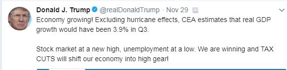 A tweet from @realDonaldTrump